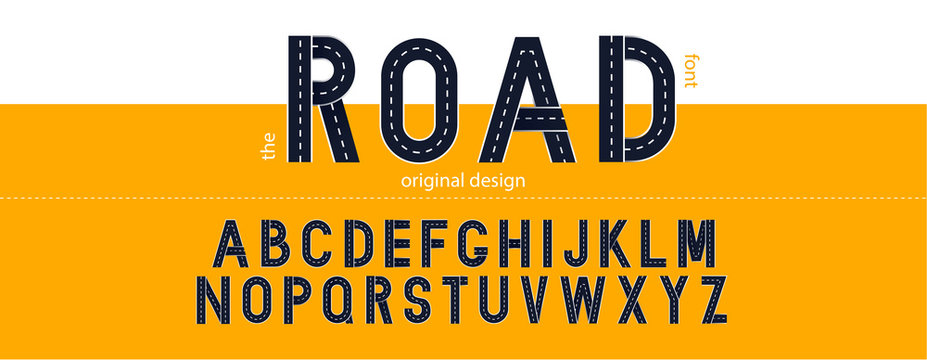 Road font. Typography design with street lines. Vector letters