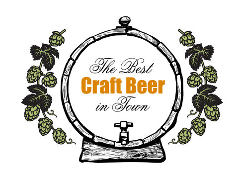 Old wooden beer barrel with text The best craft Beer in Town framed by branches of hops. Design elements for brewery, beer festival, bar, pub . Vector illustration on white background.