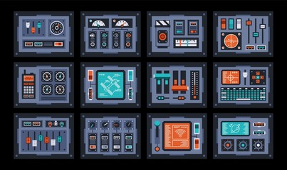 Control panels set. Devices from the control room of the spacecraft. Vector illustration.