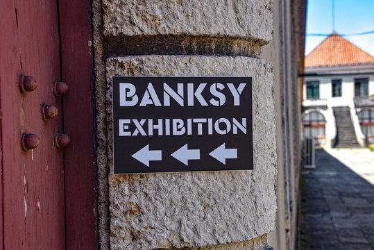 Lisbon, Portugal - July 26, 2019: 'Genius or Vandal' exhibition of works by the artist 'Banksy' at the Cordoaria Nacional