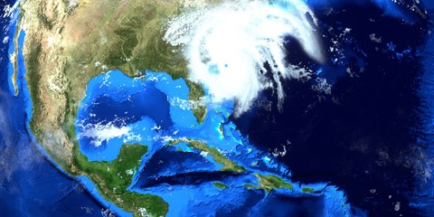 Hurricane Dorian Extremely Detailed and realistic high resolution 3D illustration. Shot from Space. Elements of this image are furnished by NASA.