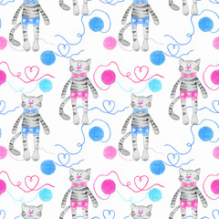 Seamless pattern with cats and tangles of thread. Mixed media: watercolor and crayons.
