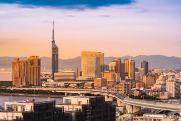 Fukuoka cityscape kyushu sunset Fototapete