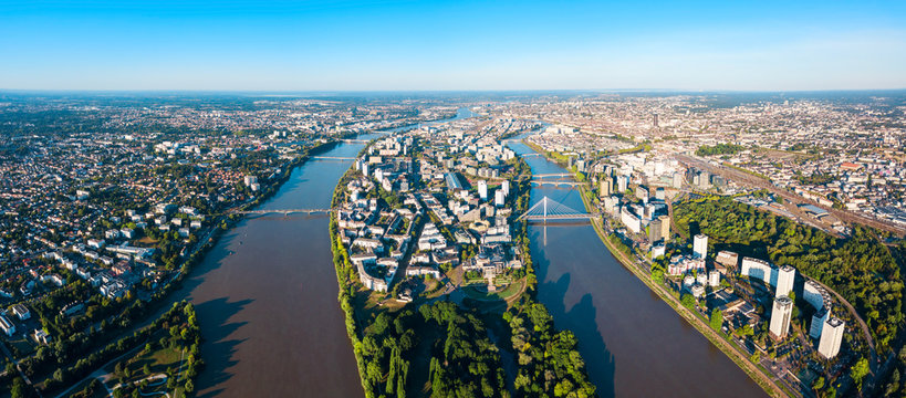 Nantes aerial panoramic view, France
