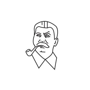 Stalin linear vector portrait. Soviet leader Stalin