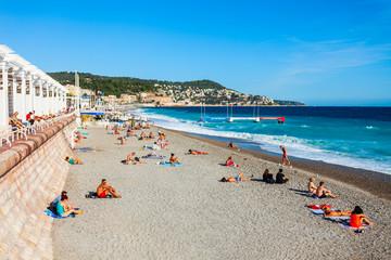 Foto op Canvas Nice Plage Blue Beach in Nice, France