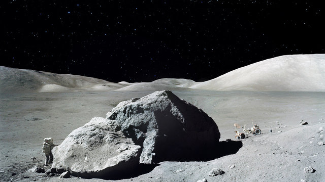 Astronaut landed on the planet. Cosmonaut goes to his moon rover. Outer space planet landscape . Elements of this image furnished by NASA