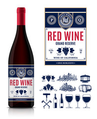 Vector vintage red wine label and wine bottle mockup. Winemaking business branding and identity icons and design elements