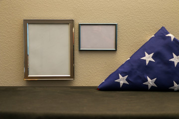 Picture Frame with Folded American Flag