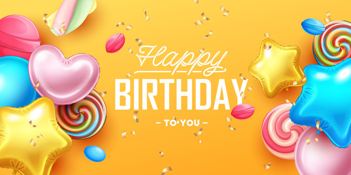 Happy Birthday background with colorful balloons and sweets.  Vector illustration