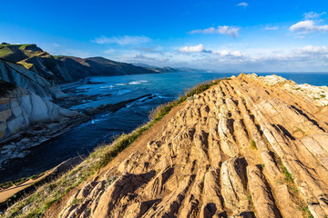 The spectacular cliffs on the flysch route near Zumaia, Gipuzcoa, Basque Country, Spain