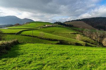 Landscape with green hills in Basque Country near Deba, Northern Spain