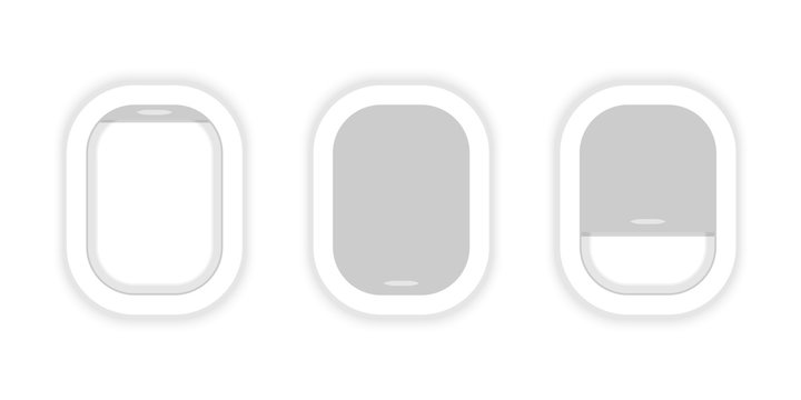 Airplane windows in a row. Aircraft. Airplane windows opened and cloused. Flat web vector banner