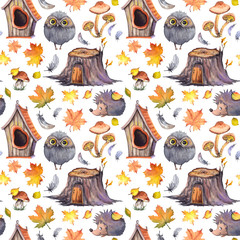 Seamless pattern with cute owls, hedgehogs, birdhouses, tree stumps, mushrooms, feathers and autumn leaves. Watercolor illustration isolated on white background.