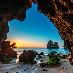 Sunrise at famous and beautiful dream beach, Algarve