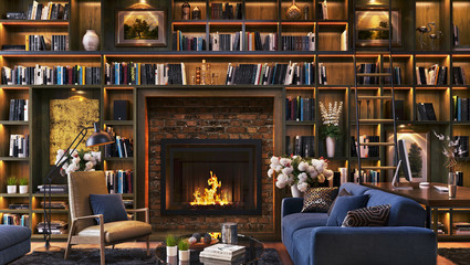 Luxury fireplace and large library with desk Fototapete