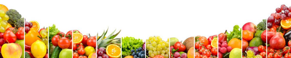 Wall Mural - Vegetables and fruits separated vertical lines