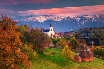 Colorful autumn alpine rural landscape near Brasov, Magura, Transylvania, Romania