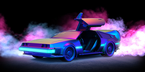 Future car retro 80th illustration with blue and pink smoke and black background