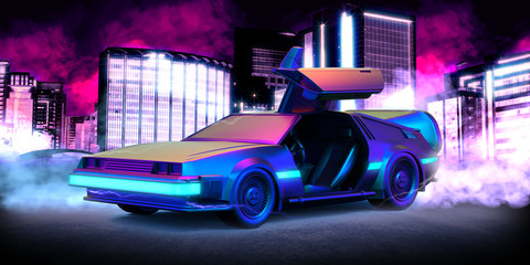 Future car, retro 80th illustration with blue and pink smoke and cyberpunk city in the background