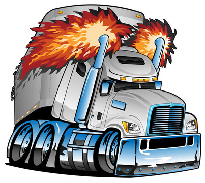 Semi Truck Tractor Trailer Big Rig, White, Flaming Exhaust, Lots of Chrome, Cartoon Isolated Vector Illustration