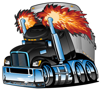 Semi Truck Tractor Trailer Big Rig, Black, Flaming Exhaust, Lots of Chrome, Cartoon Isolated Vector Illustration