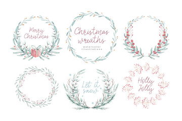 Wall Mural - Watercolor Christmas card with wearth. Hand drawing christmas decoration. Winter holiday design. Berry wreath for Christmas greeting card. Nordic postcard