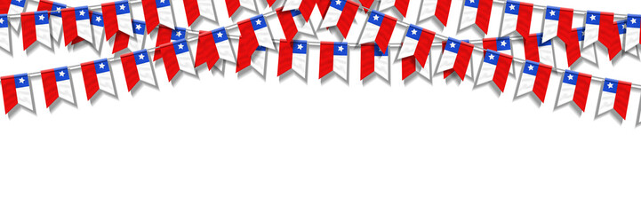 Vector realistic isolated party flags for Chile Independence Day flyer for template decoration and invitation covering on the white background.