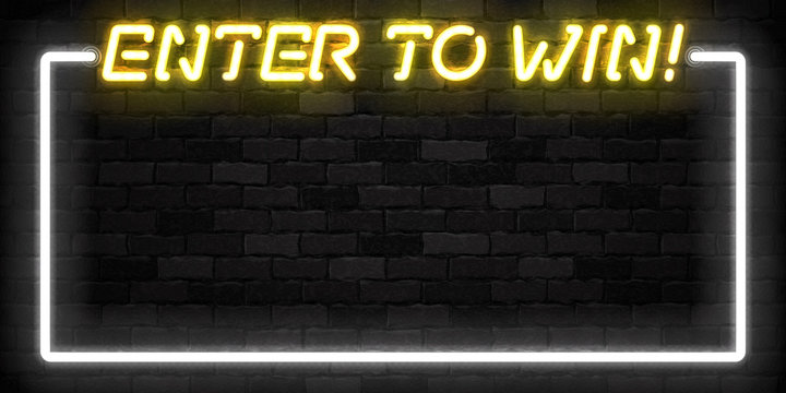 Vector realistic isolated neon sign of Enter to Win frame logo for template decoration and covering on the wall background. Concept of bonus and prize.