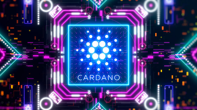 Cardano virtual money on blockchain technology. Business and finance currency