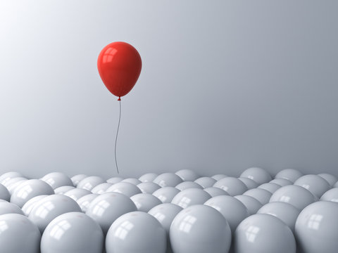 Stand out from the crowd and different or think outside the box creative idea concepts One red balloon floating above other white balloons on white background with window reflections 3D rendering
