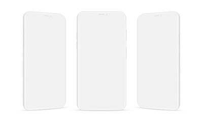 Set of clay mobile phones mockups isolated on white background. Vector illustration Wall mural