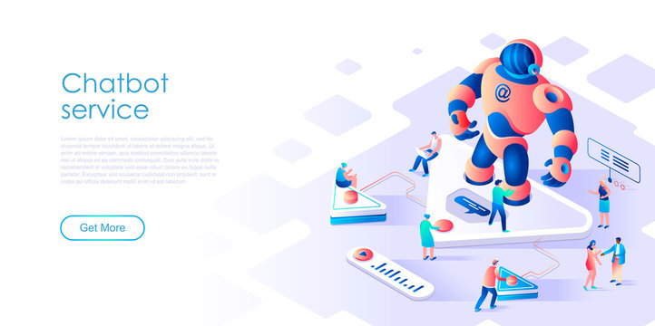 Isometric landing page chatbot or artificial intelligence flat concept. Robot and computer network for website or homepage. Isometric vector illustration template.