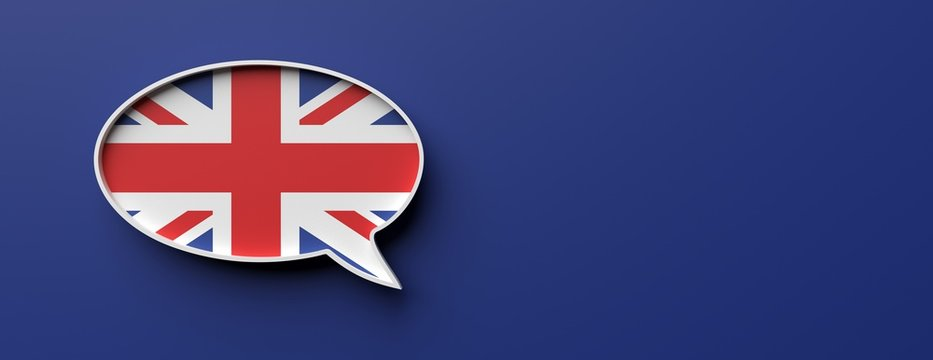UK flag talk balloon isolated on blue, banner. English lessons concept. 3d illustration