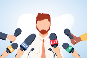 Tv interview microphones, broadcasting male speech. Happy popular young man recording opinion, business, political