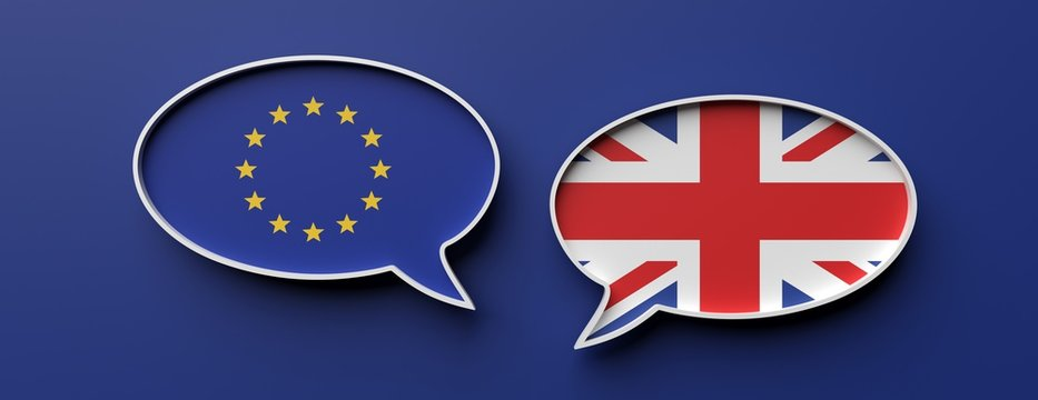 English and EU flag speech bubbles against blue background, banner. 3d illustration