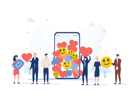 Increase your social media followers with successful marketing strategies, people bringing likes and reactions