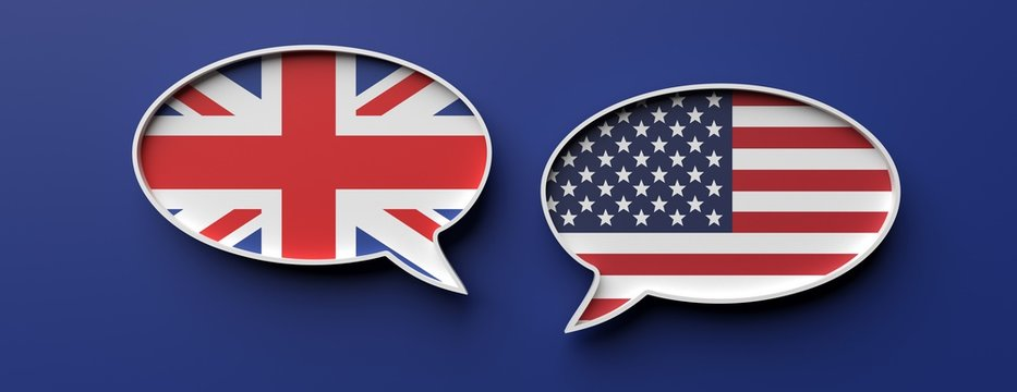 English and american flag speech bubbles against blue background, banner. 3d illustration