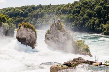 Rheinfall, Rhein, Wasserfall, Rheinfallbecken, Felsen, Neuhausen, Fluss, Rheinfallfelsen, Schaffhausen, Sommer, Schweiz