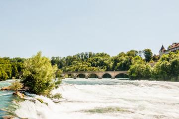Neuhausen, Rheinfall, Rhein, Brücke, Wasserfall, Spazierweg, Schaffhausen, Ostschweiz, Sommer, Schweiz