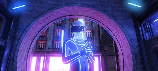 Fotomurales - Photorealistic 3d illustration of the futuristic city in the style of cyberpunk. Man in a cybersuit and virtual reality glasses on a head against an arch in a brick wall. Beautiful night cityscape.