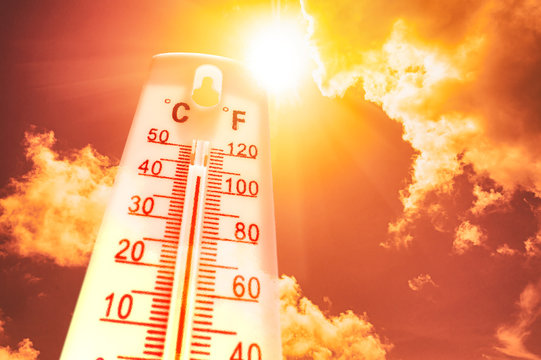 Thermometer during heatwave