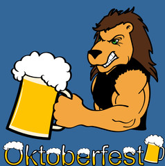 oktoberfest strong lion cartoon