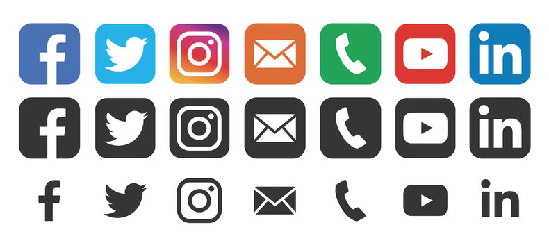 Collection social media logo: Facebook, twitter, instagram, youtube, linkedin, vimeo. Social media icons. Realistic set