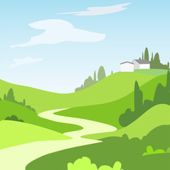 Cartoon landscape with green fields, trees and house, Beautiful rural nature.  Vector Illustration.