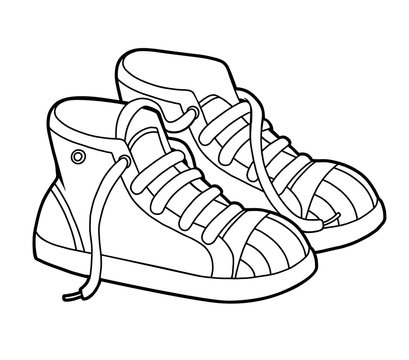 Coloring book, cartoon shoe collection. Sneakers