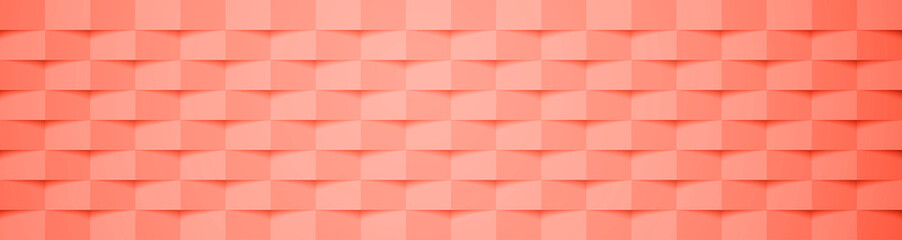Living coral geometric checkered cover design pattern. Abstract background.