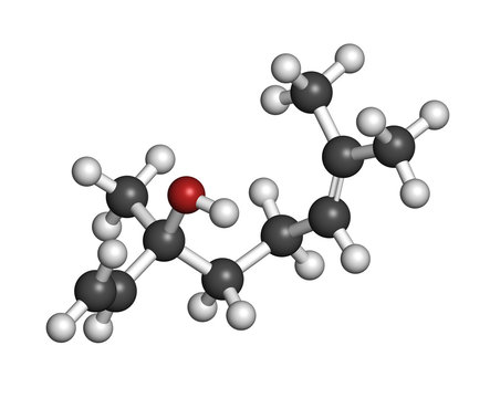 Linalool scent molecule. 3D rendering. Atoms are represented as spheres with conventional color coding: hydrogen (white), carbon (grey), oxygen (red).