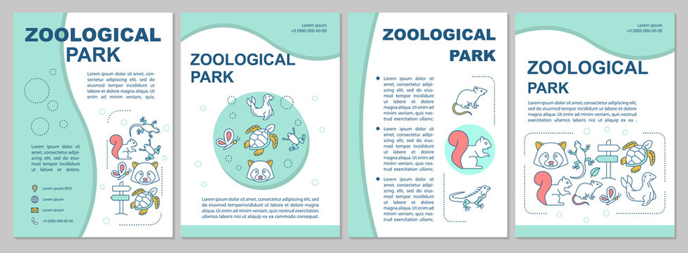Zoological park brochure template layout. Animals species. Flyer, booklet, leaflet print design with linear illustrations. Vector page layouts for magazines, annual reports, advertising posters
