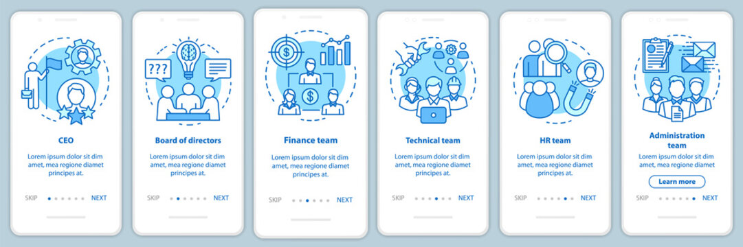 Company staff onboarding mobile app page screen with linear concepts. CEO, board of directors walkthrough steps graphic instructions. Corporate team. UX, UI, GUI turquoise template with illustrations